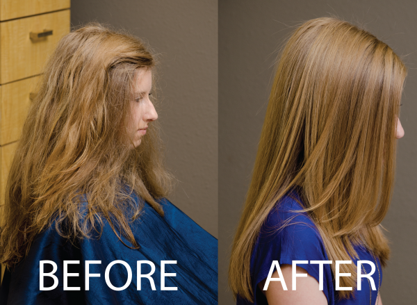 Before Keratin Smoothing. then After Treatment